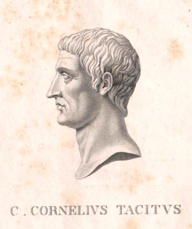 A hand-drawn sketch of Tacitus from an old text